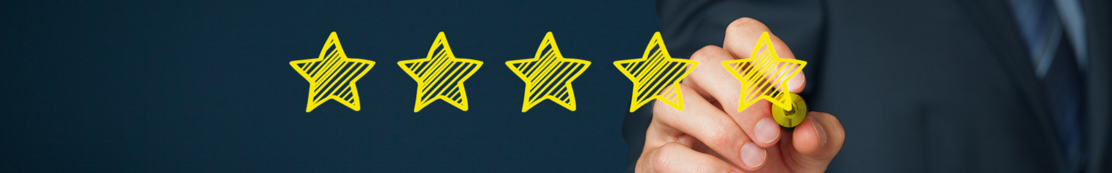 Increase rating evaluation and classification concept. Businessman draw five yellow star to increase rating of his company. Wide banner composition.